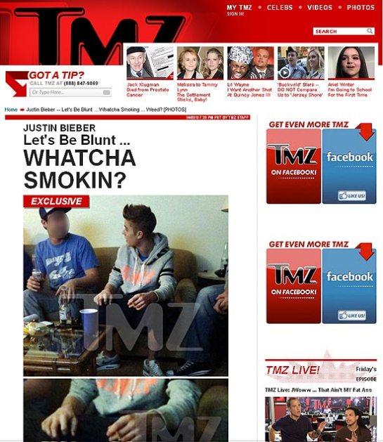 """Foto publicada pelo site """"TMZ"""" mostra o cantor Justin Bieber fumando cigarro suspeito"""
