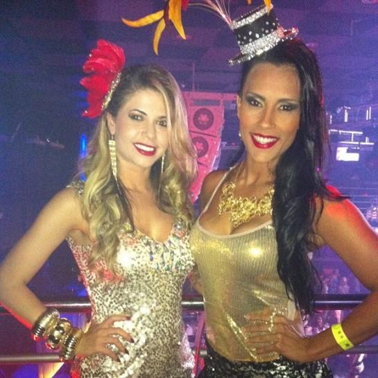 Ex-BBBs Cacau e Kelly em evento em Campinas, São Paulo