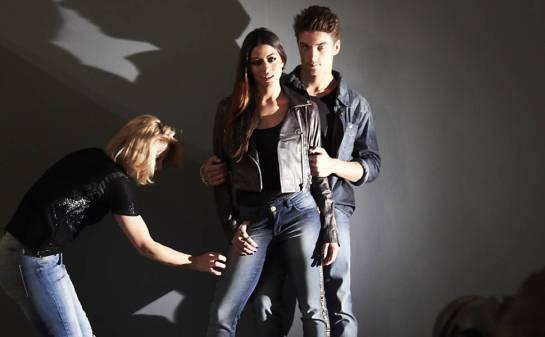 Carol Castro e Raphael Sander nos bastidores de campanha
